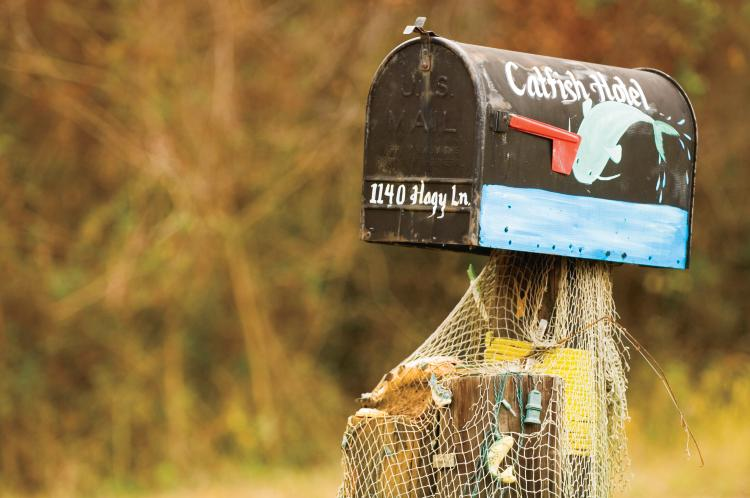 Mailbox at the Catfish Hotel restaurant in Shiloh, TN.