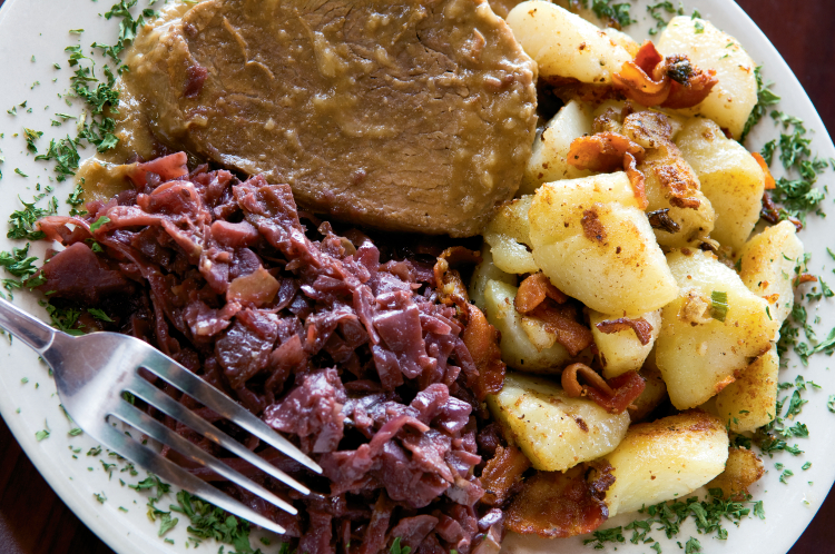Sauerbraten, red cabbage and pan-fried potatoes from Freiberg's Authentic German Cuisine in Johnson City.