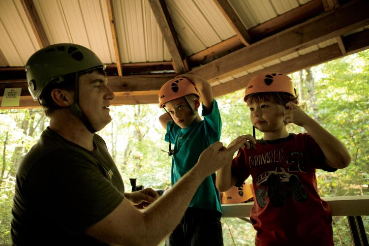 Zip lining at Adventureworks in Kingston Springs, Tennessee