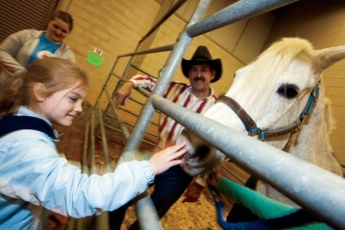 A Capshaw Elementary student pets a horse as part of Farm Day in Cookeville, TN.