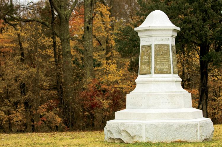 A monument to Union Soldiers at the Shiloh National Military Park in Shiloh, TN