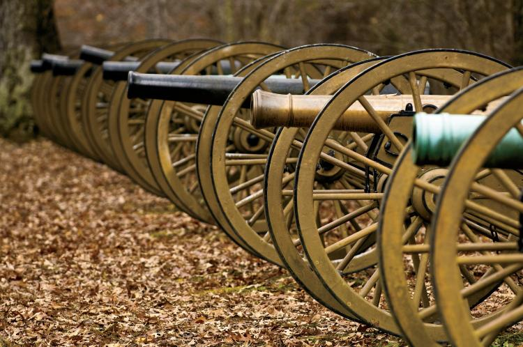 Some of many canons on display at Shiloh National Military Park in Shiloh, TN.