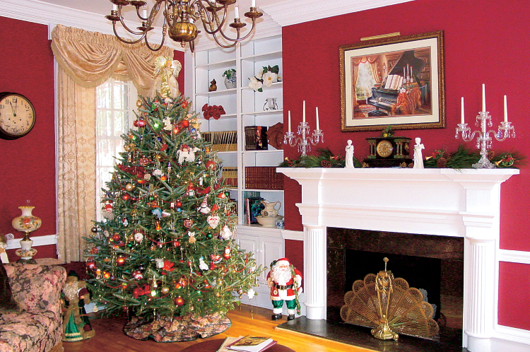 Christmas decor in living room