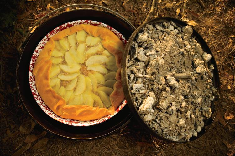 A Crescent Apple Tart Cooked In Dutch Oven