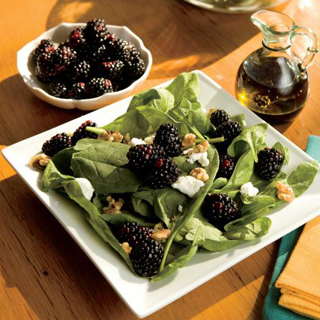 Wilted Spinach, Blackberry and Goat Cheese Salad