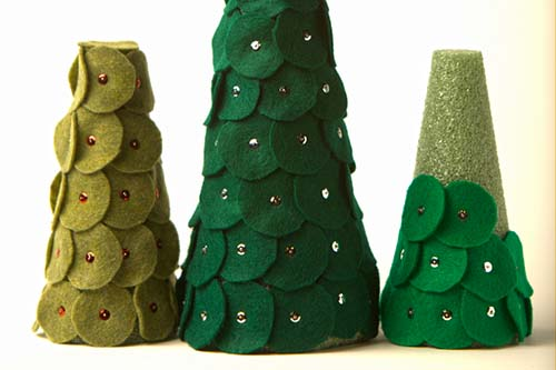 DIY Felt Shingle Trees