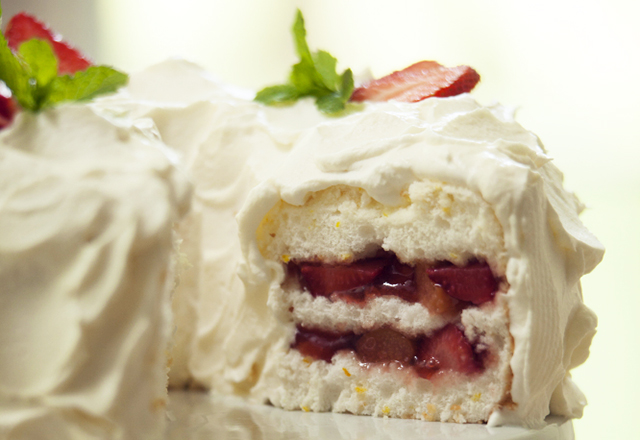 Strawberry Rhubarb Angel Food Cake