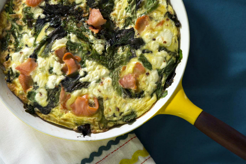 Goat Cheese Frittata with Fresh Greens