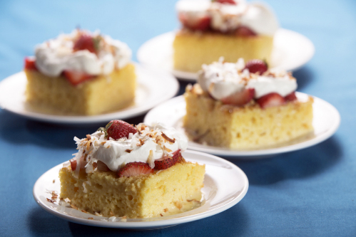 Strawberry Coconut Tres Leche Cake