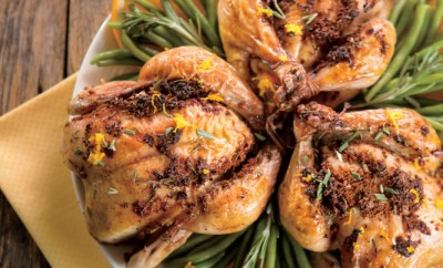 Cornish Game Hens with Orange and Rosemary