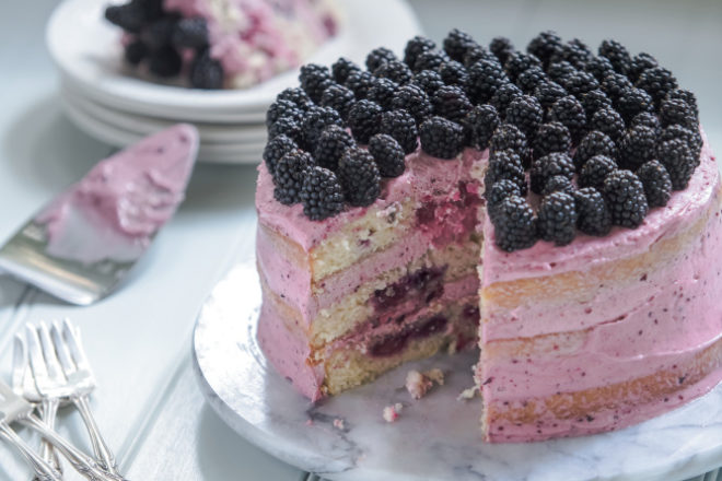 Blackberry Cake with Blackberry Icing