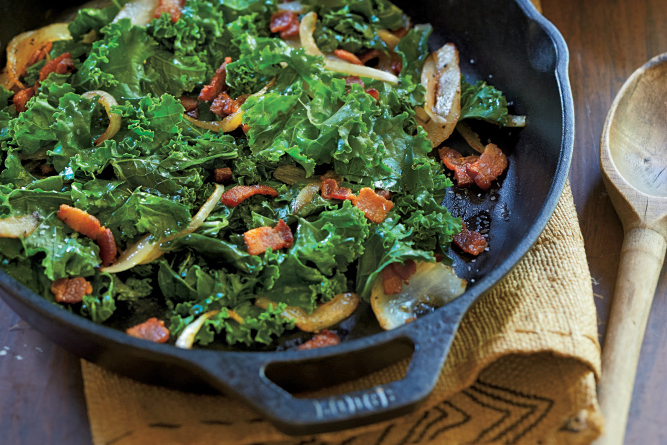 Braised Kale with Bacon and Onion