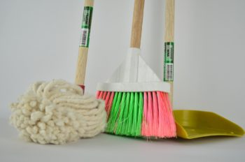 spring cleaning; mop and broom