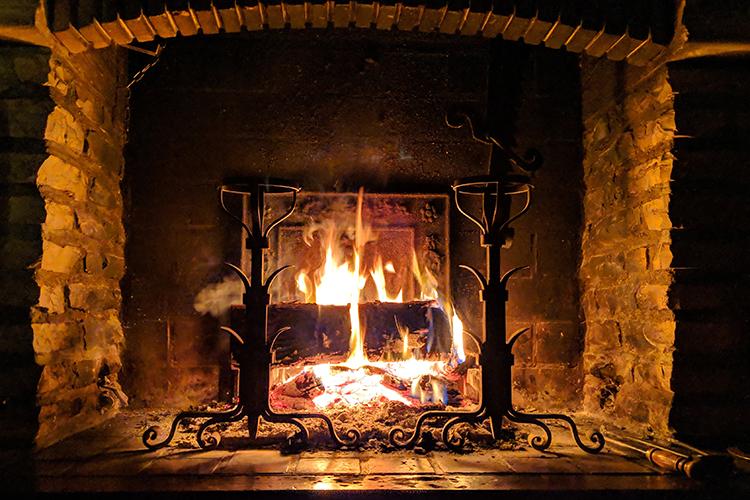 wood-burning fire
