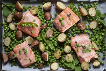 Sheet Pan Salmon Dinner with Mint Dressing; five ingredient recipes